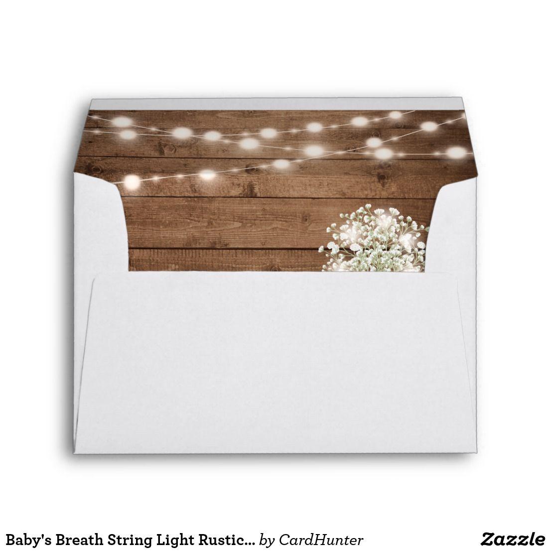 Baby S Breath String Light Rustic Wood Wedding 5x7 Envelope