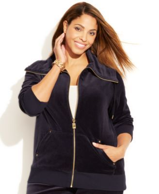 Michael Michael Kors Plus Size Velour Jacket