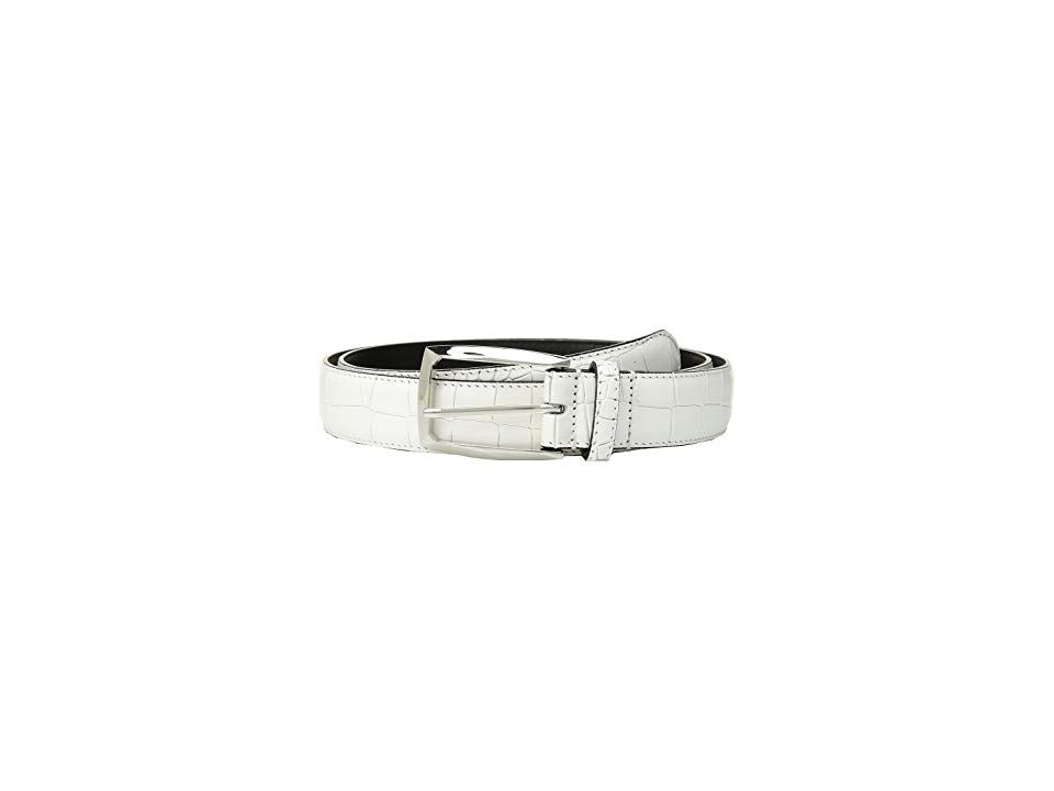 Stacy Adams Ozzie White Mens Belts An ideal design for the gentleman onthego this sleek Stacy Adams belt will complete any look with ease Constructed of crocoembossed lea...