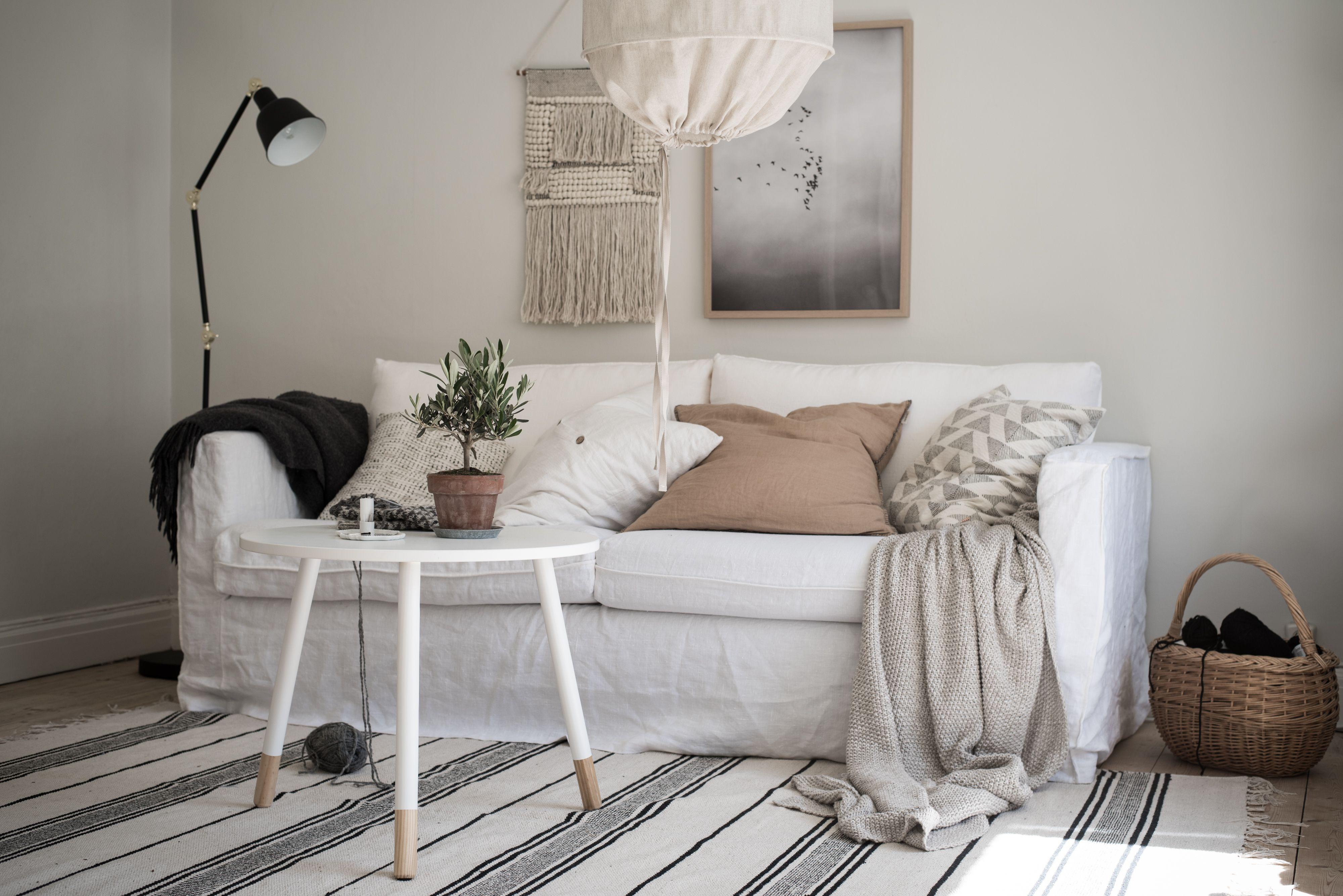 Layered White Boho Minimal Living Room White Linen Sofa Scandinavian Interior Ikea Karlstad S Minimalism Interior 1930s House Interior Scandinavian Sofas