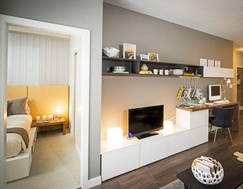 Http Justhomeit Com Computer Desk In Living Room In Modular Look Modern Computer Desk With White Tv Cabine Wohnung Wohnzimmer Wohnzimmer Schreibtisch Zuhause