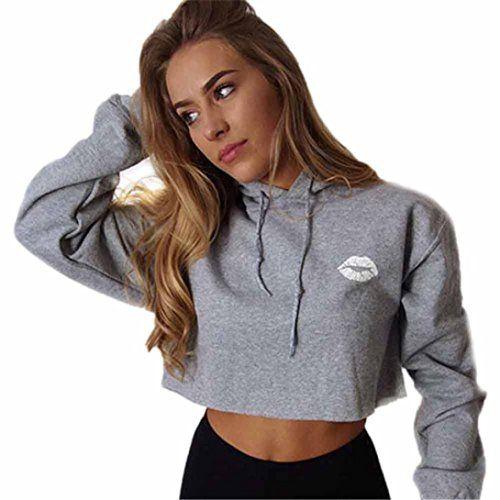 484f2d5ec8108 Bonjouree Sweat à Capuche Court Femme Sweat-shirts Ado Fille Pull Chic