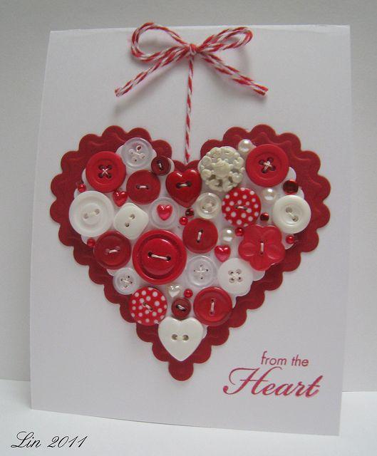 Valentine Day Cards, Valentine Crafts, Button