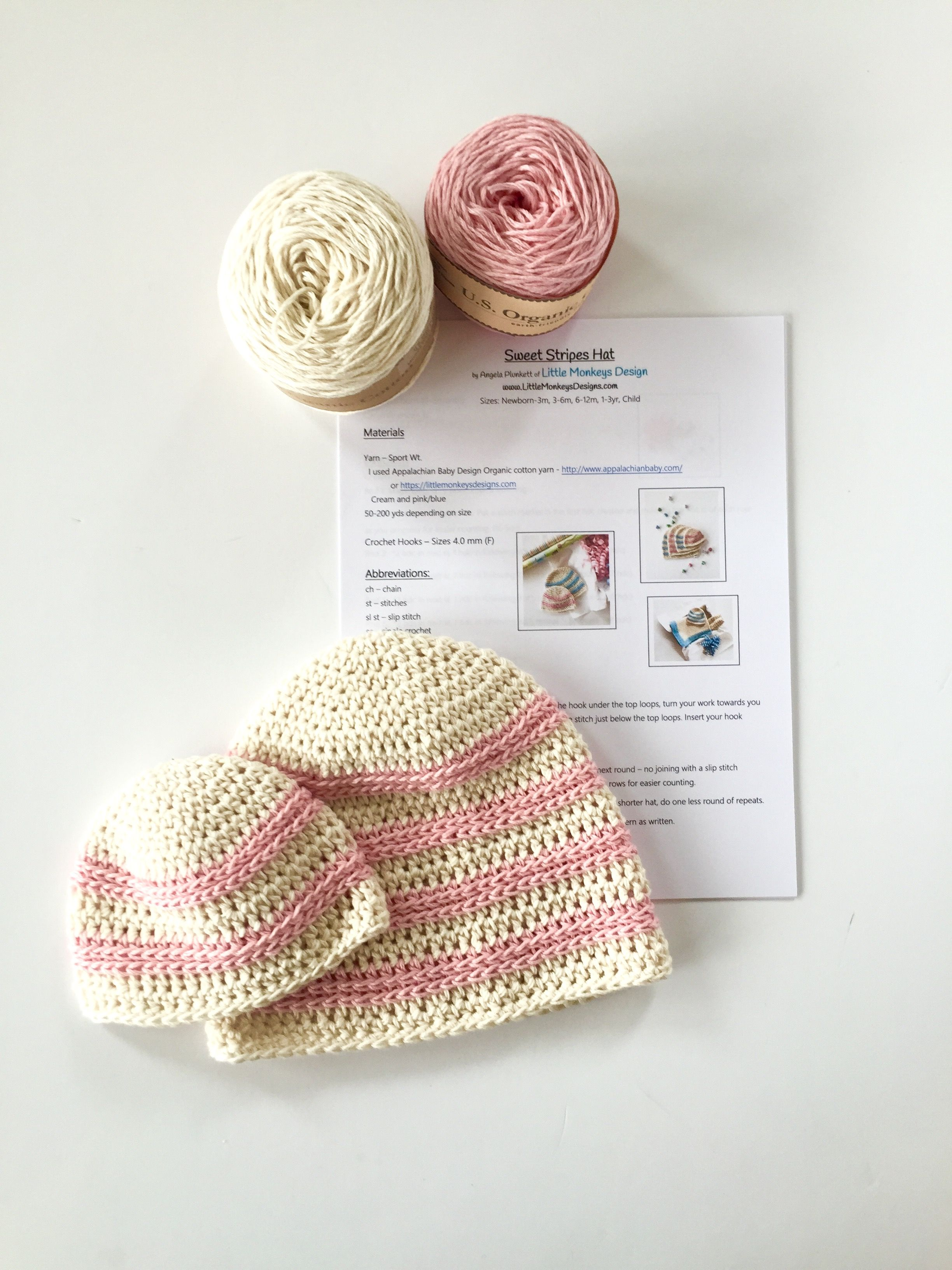 Sweet Stripes Organic Cotton Baby Hat Crochet Kit | Tejido y Accesorios