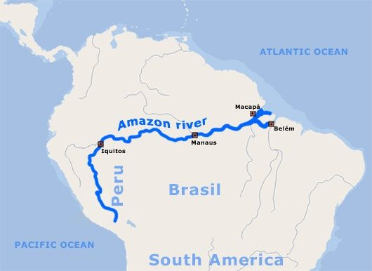 Amazon River On Map Map of Amazon River | Famous Rivers | Amazon river, Bolivia peru