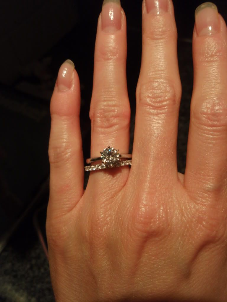 Amora moissanite solitaire engagement ring with diamond wedding band