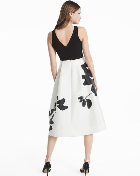 08a464eabec Women s Exploded Floral Printed Midi Fit and Flare Dress by White House  Black Market