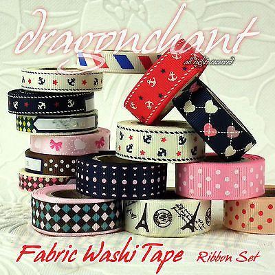 Fabric Washi Tape Decorative Sticky Roll Adhesive Card Scrapbook Craft RIBBON