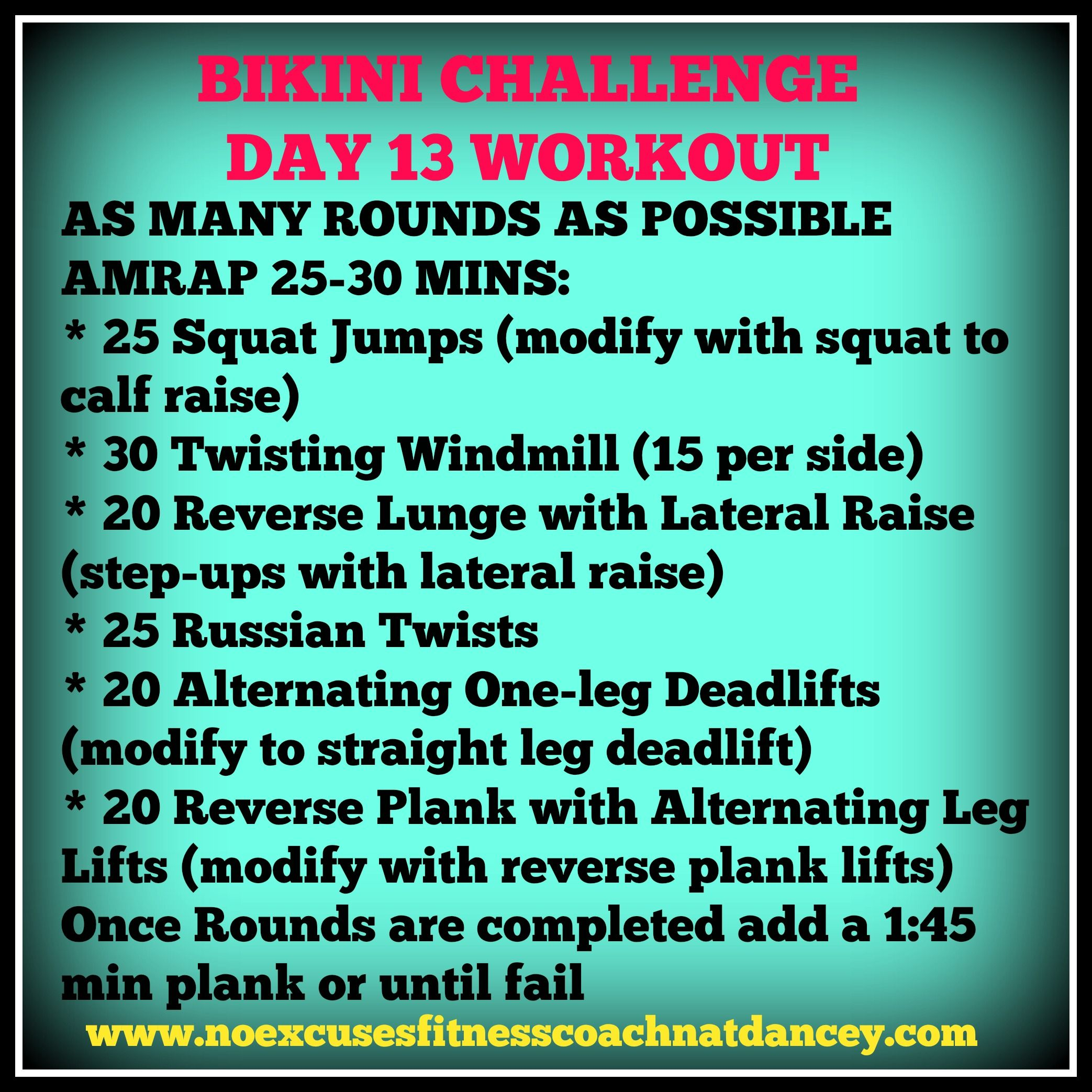 Day 13. AMRAP's are always tough but I love them because you are fighting against time to get the most amount of rounds possible. It is never too late to join this free challenge by connecting with me on Facebook. #getfit #bikinichallenge