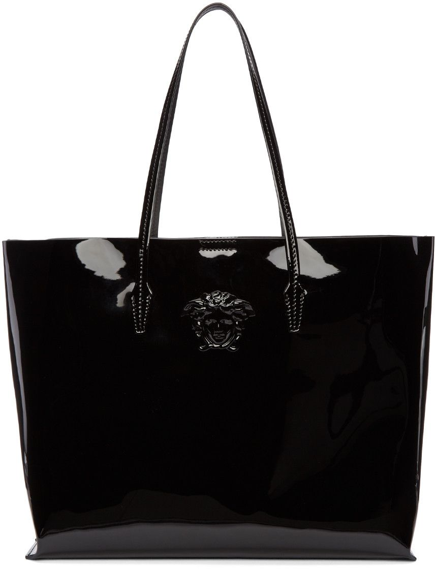 36cb57e053 VERSACE Black Patent Medusa Tote.  versace  bags  patent  hand bags  tote
