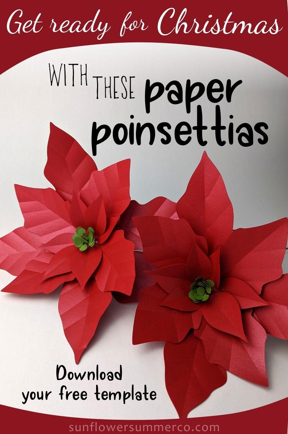 Paper Poinsettia Flower Template Paper Flower Centerpieces Paper Flower Video Paper Flowers