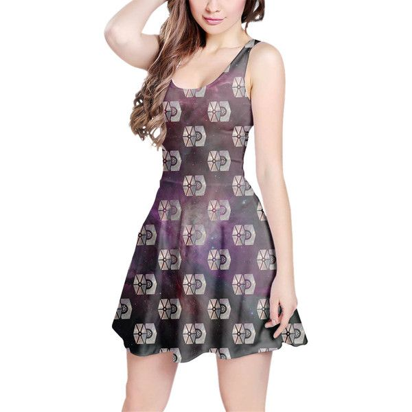 Tie Fighter Star Wars Galaxy Pattern Skater Dress in Xs-3xl Women's... (205 DKK) ❤ liked on Polyvore featuring dresses, silver, women's clothing, purple evening dresses, long cocktail dresses, long purple dress, skater dress and holiday dresses