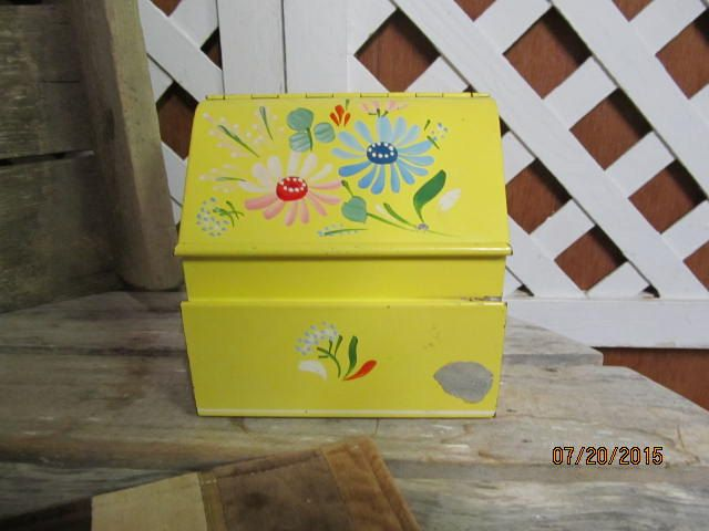 Vintage Metal Ransburg Recipe Card Box Yellow Hand Painted Flowers Kitchen Retro Silver Foil Label Wall Mount by EvenTheKitchenSinkOH on Etsy