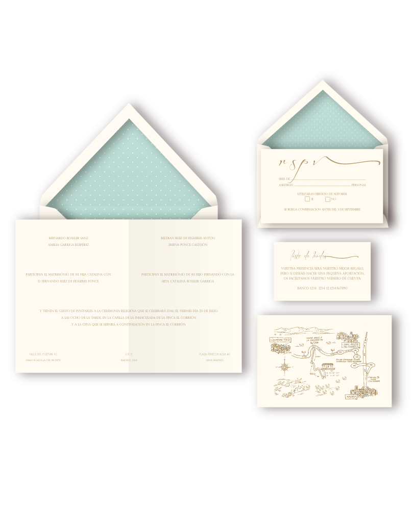 Plumeti invitation suite. This wedding stationery includes invitations, lined envelopes, thank you notes, menus and maps.