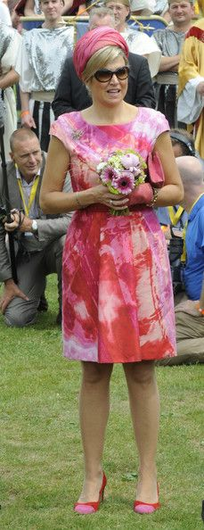 Queen Maxima Style File. Celebrating the 750th anniversary of Goor during an official visit to the town centre at 's Heerenbroek in Netherlands. June 19, 2013