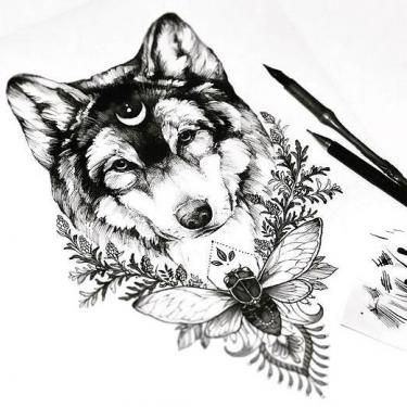 Awesome Wolf Head With Moon And Flowers Tattoo Design Tattoo Art