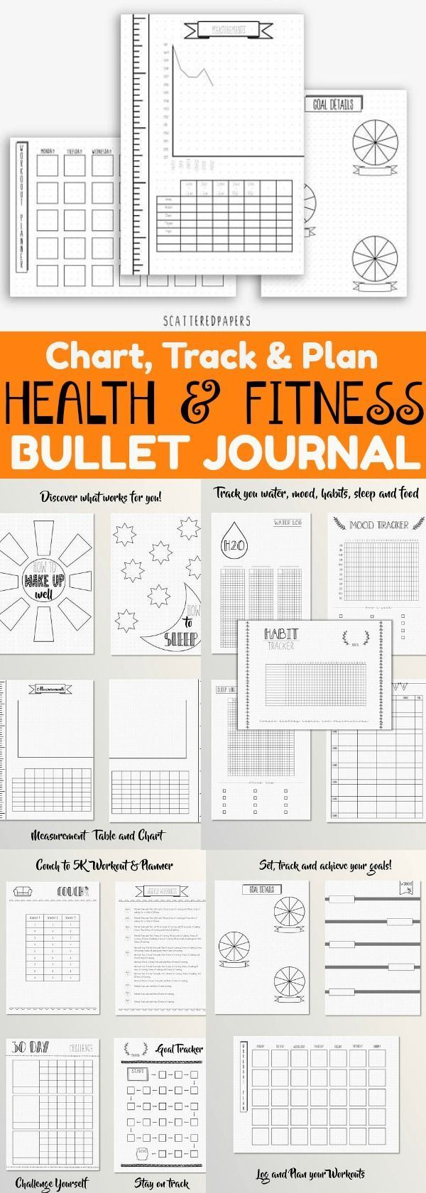Bullet Journal Health and Fitness - Dotted Grid - BUJO - Printable ,  #bujo #bullet #Dotted #Fitness...