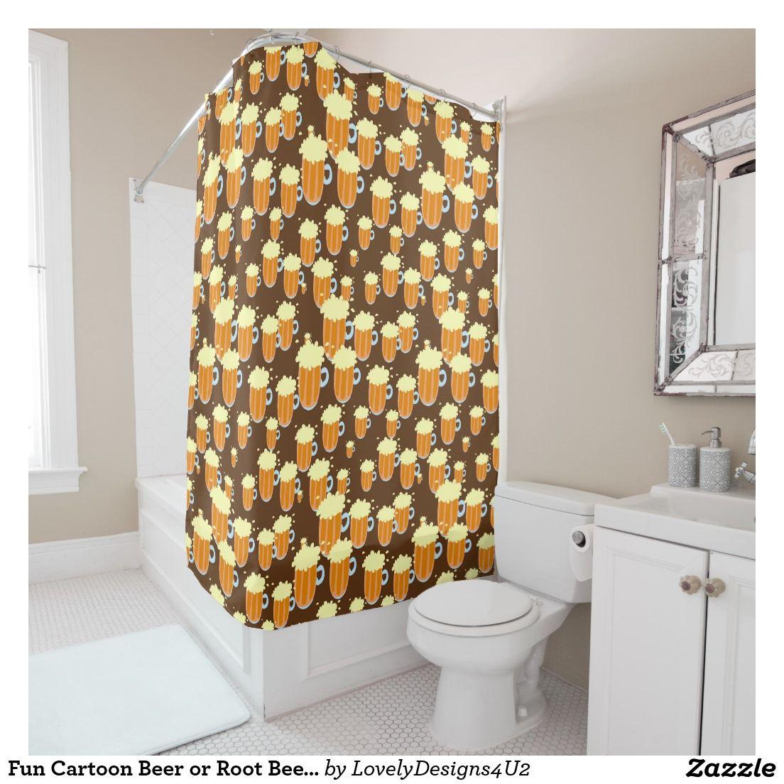Fun Cartoon Beer Or Root Beer Mug Pattern Shower Curtain Yellow