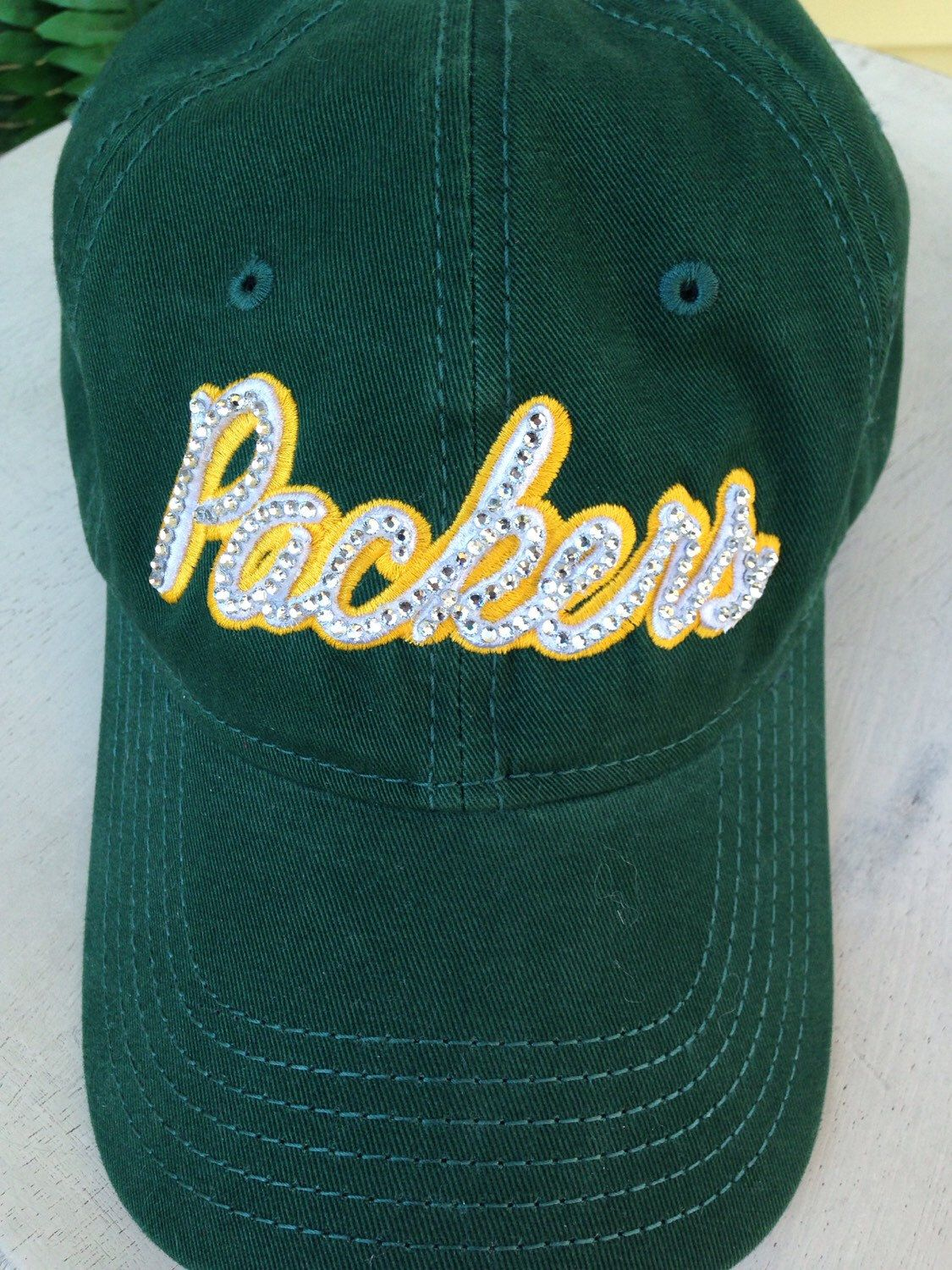Bling hat, Packers, green bay, green