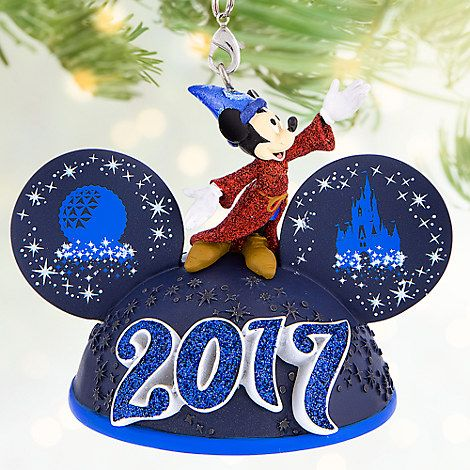 sorcerer mickey mouse light up ear hat ornament walt disney world 2017 - Disney World Christmas Decorations 2017