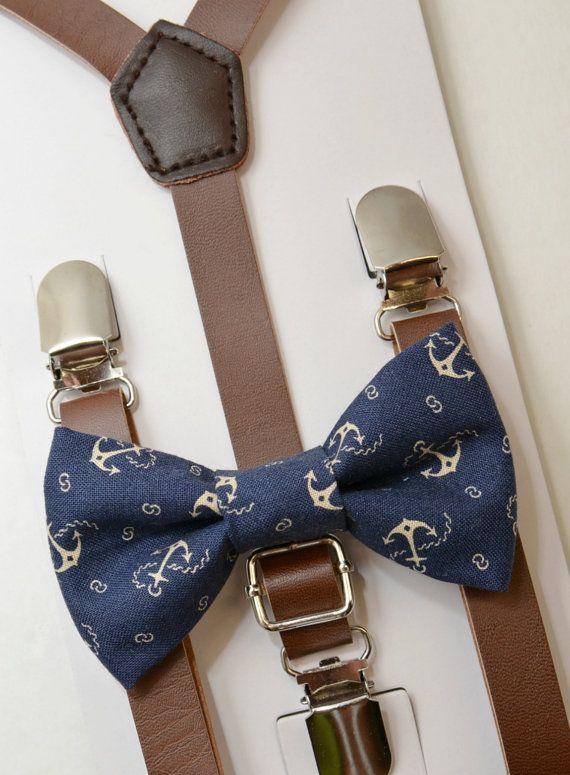 6Y Kids Boys Brown PU Leather Suspenders  navy blue wedding bow tie 6mon Set