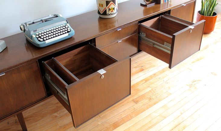 Mid Century Modern Office Credenza Solid Walnut With Chrome Pulls