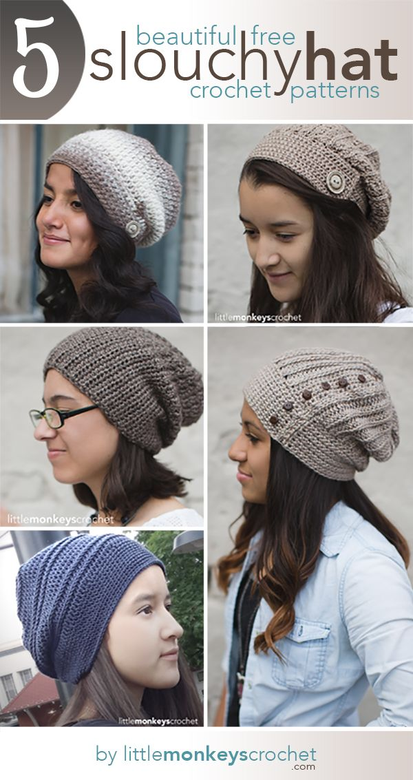 5 Beautiful + Free Slouch Hat Patterns | Mütze, Häkeln und Stricken