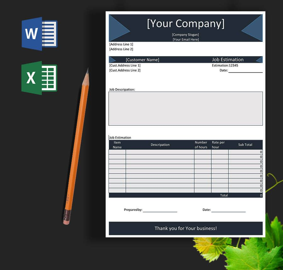 Project Blank Estimate Template  Work Estimate Template