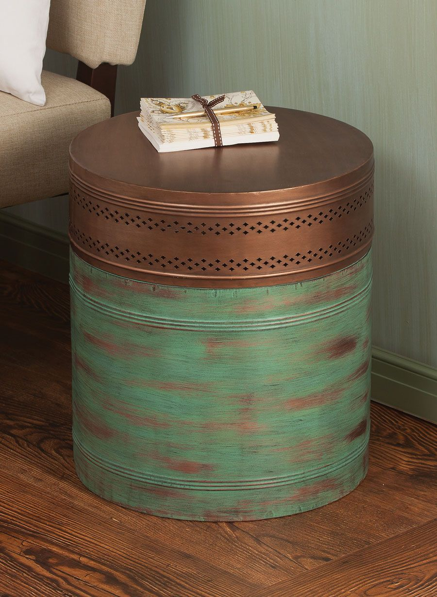 Metal Cylinder Storage Table Acacia Someday House