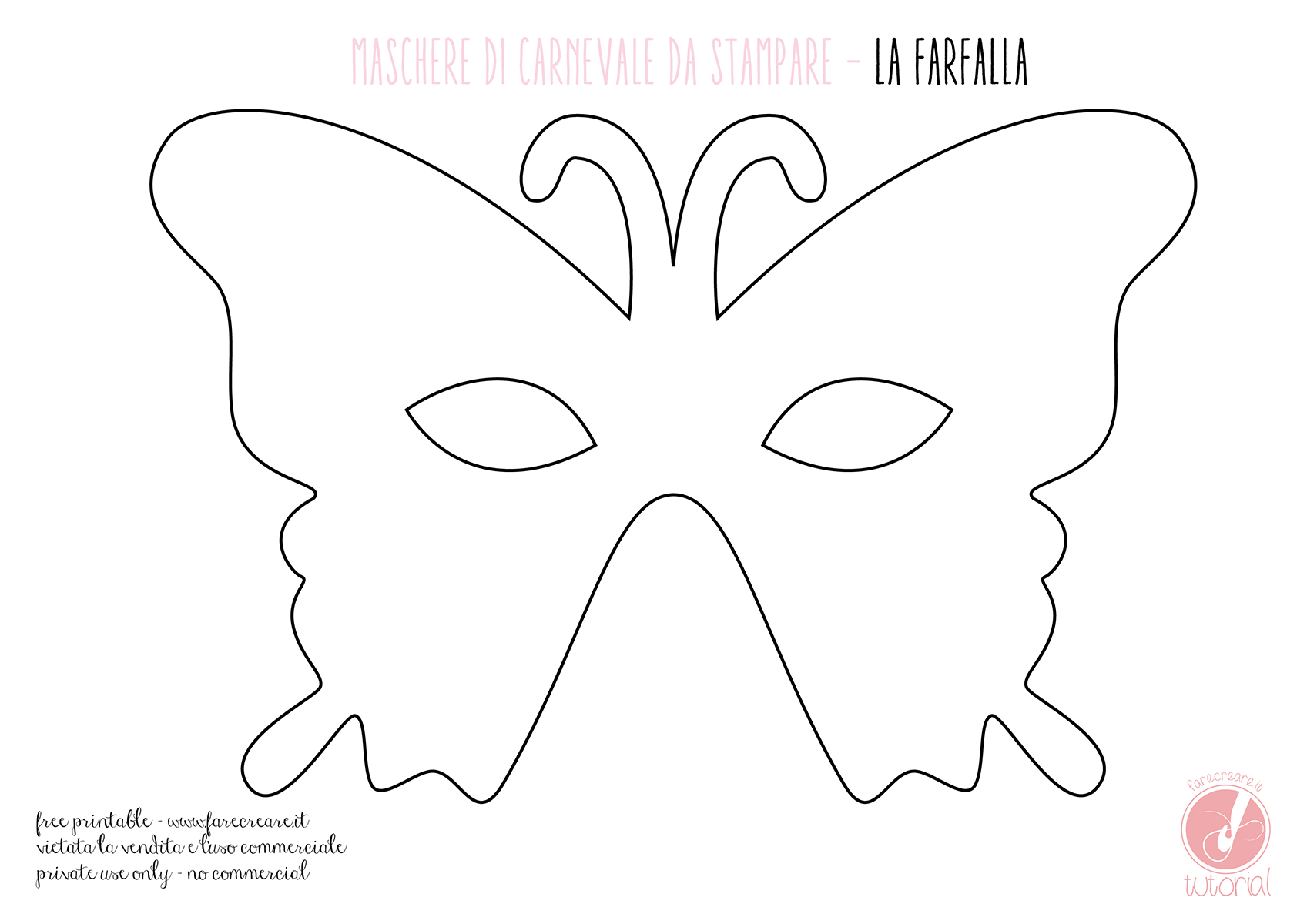Maschera Di Carnevale Farfalla File Da Stampare Carnevale