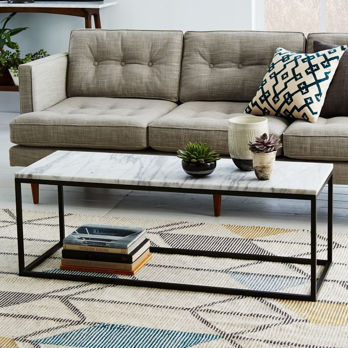 west elm Box Frame Coffee Table - Marble (home decor, Antique Bronze ...