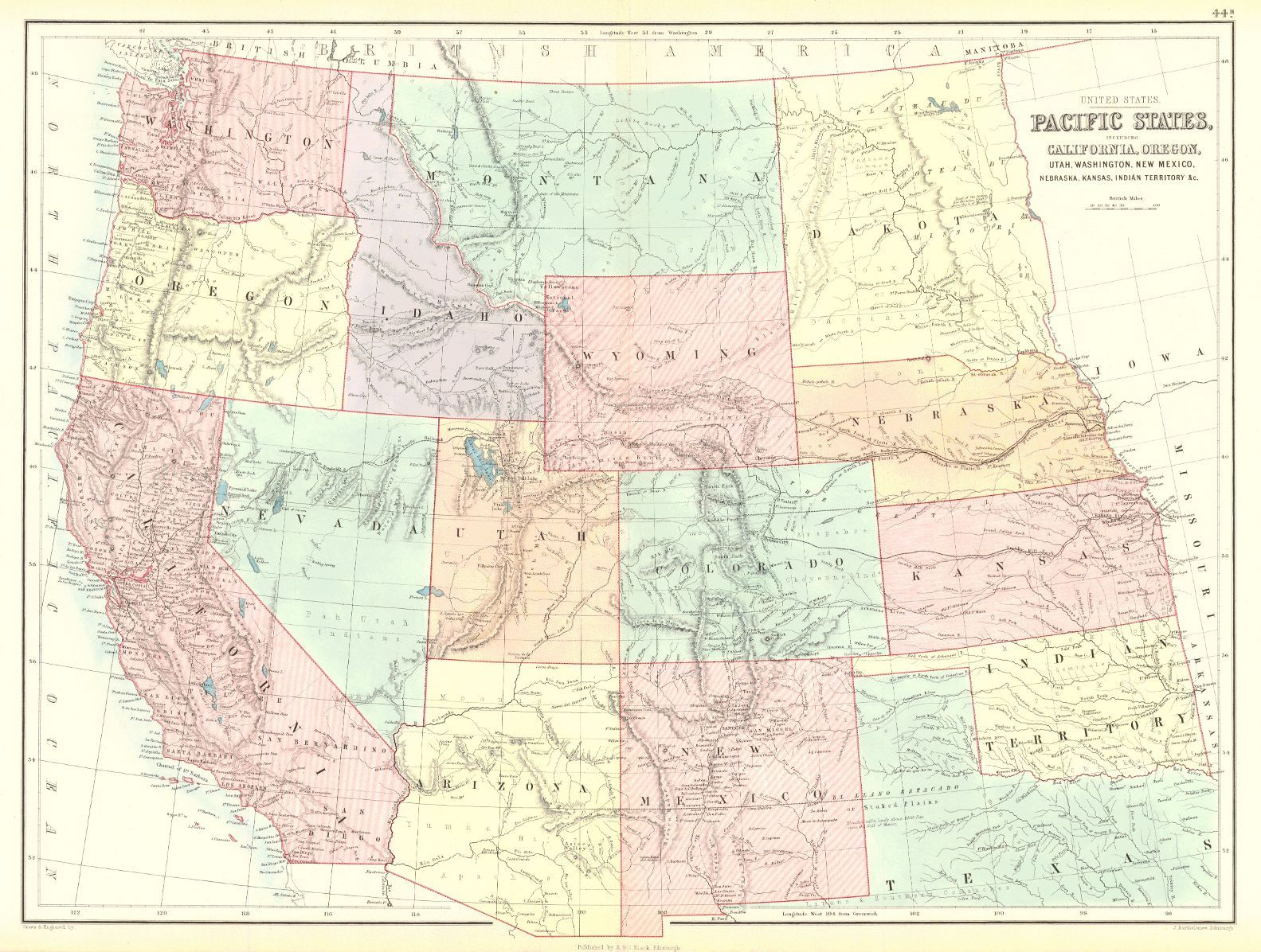 United States Pacific States Includes California Oregon Utah - Map of northern wyoming