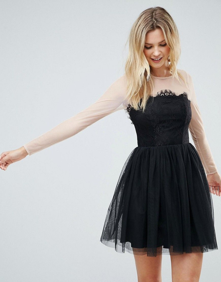 4b4c75ffc37ed ASOS TALL PREMIUM Sheer Top Tulle Mini Prom Dress - Black | Clothes ...