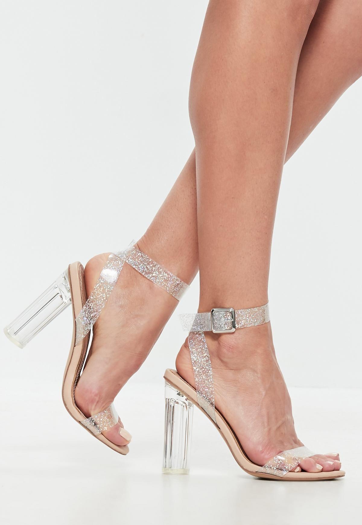 ca0bd50425f Nude Glitter Clear Heeled Sandals