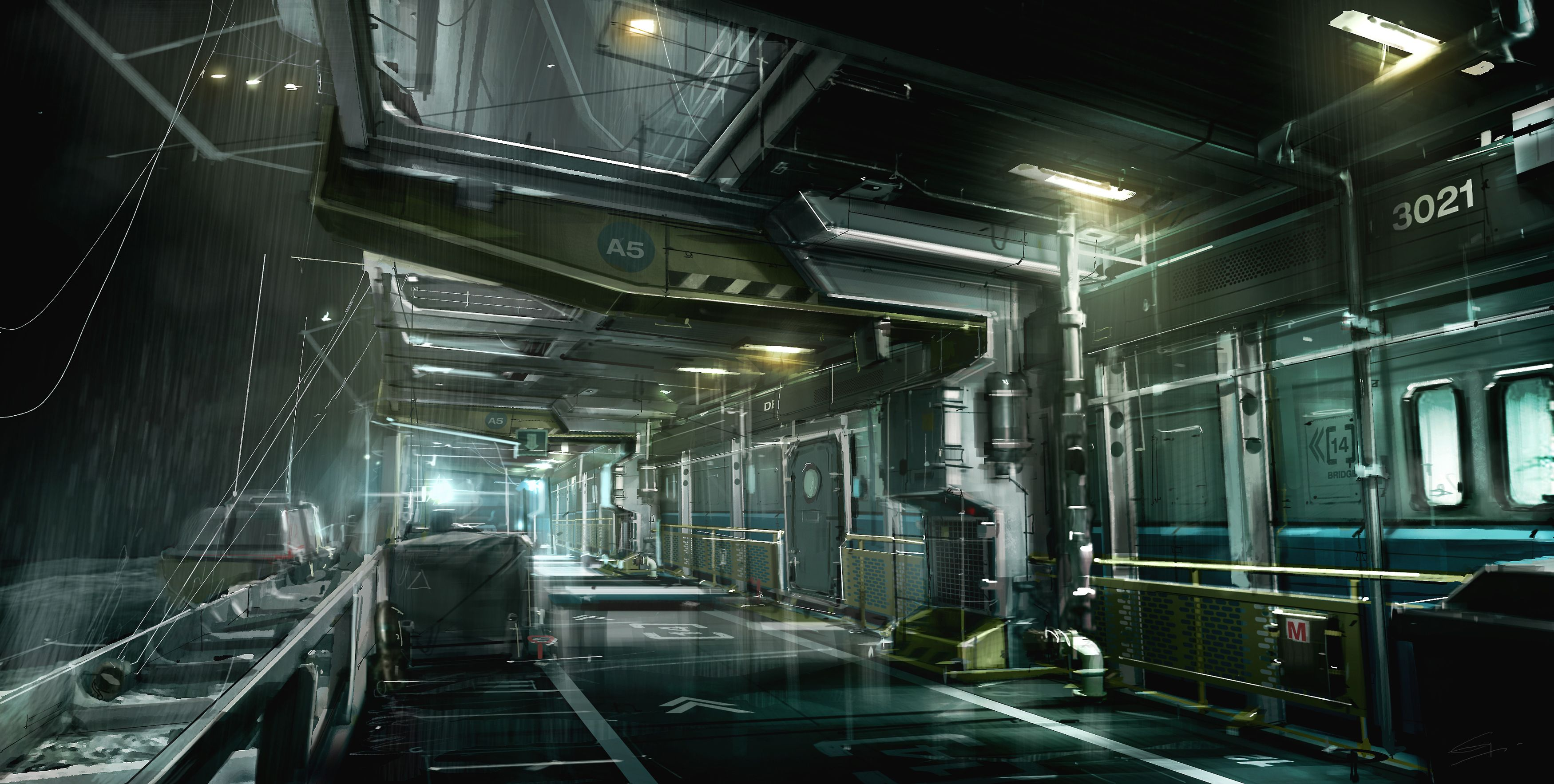 Sci Fi Space Station Interior Fantasy Sci Fi Wallpaper