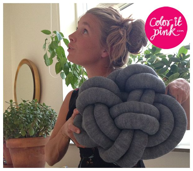 knot pillow from knitted tube diy pinterest