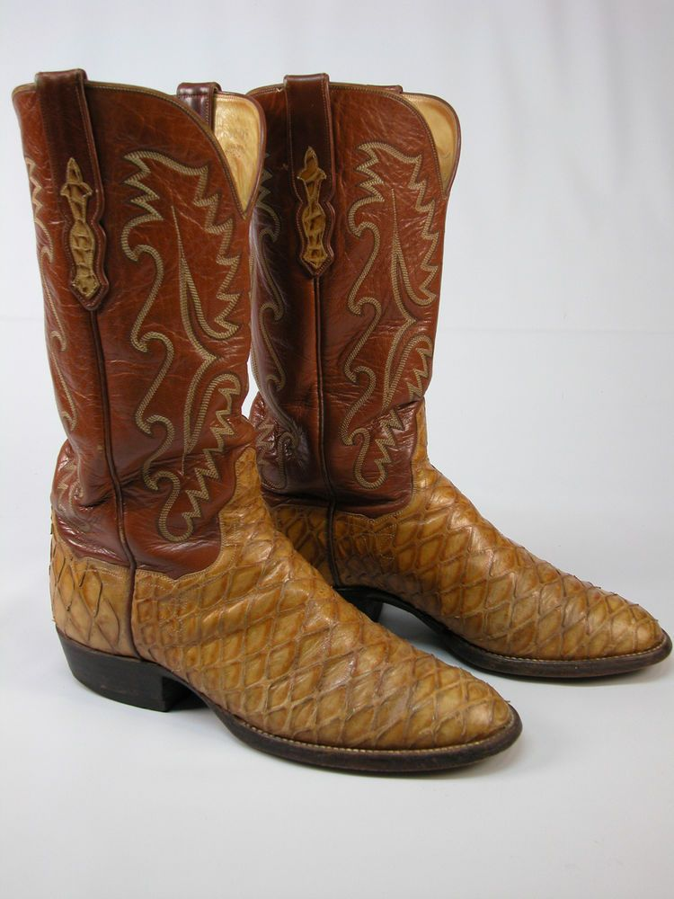116b7f433f9 VINTAGE EXOTIC ANTEATER LEATHER WESTERN COWBOY BOOTS MENS 9.5 D ...