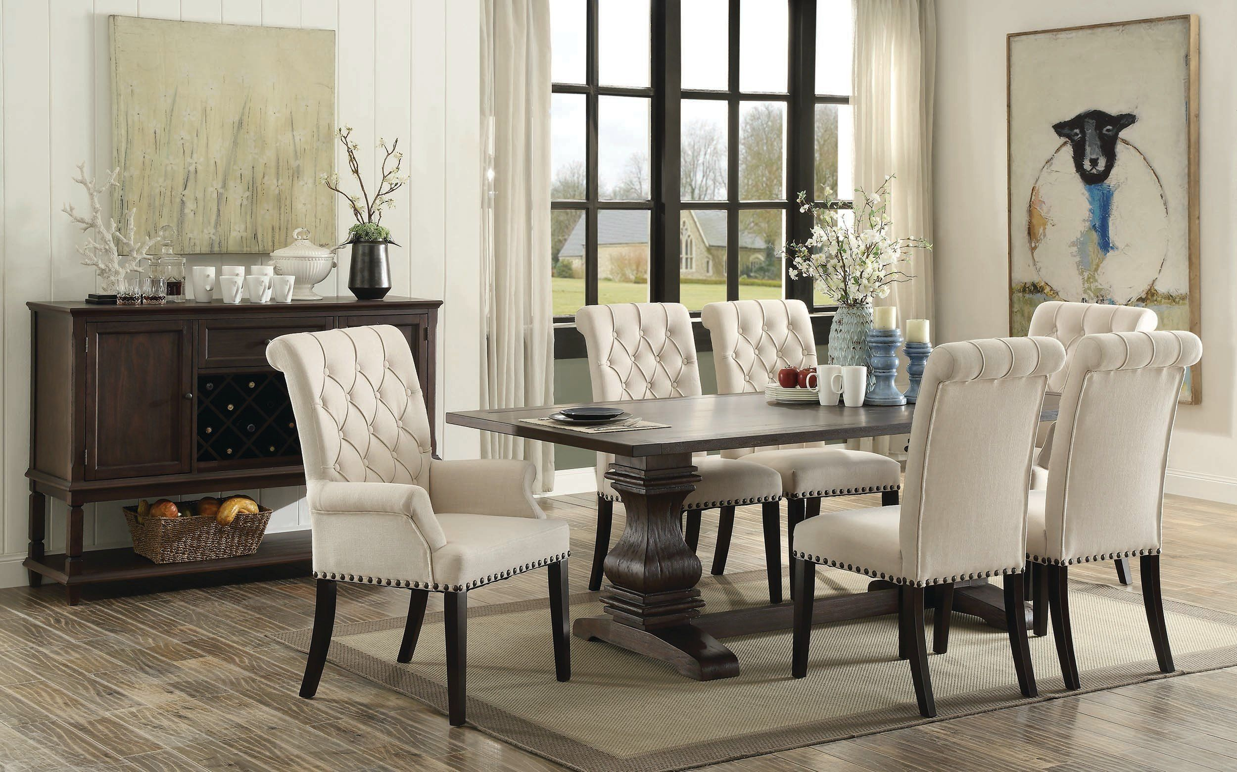 Parkins Rustic Espresso 8 Piece Rectangular Dining Table Set  Tc Simple 8 Pc Dining Room Set Inspiration