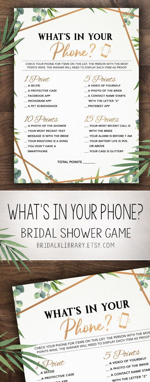 Whats In Your Phone, Bridal Shower Games Printable, Bridal Shower Game Idea, Bridal Shower Instant Download, Wedding Game, Bridal Gold Game