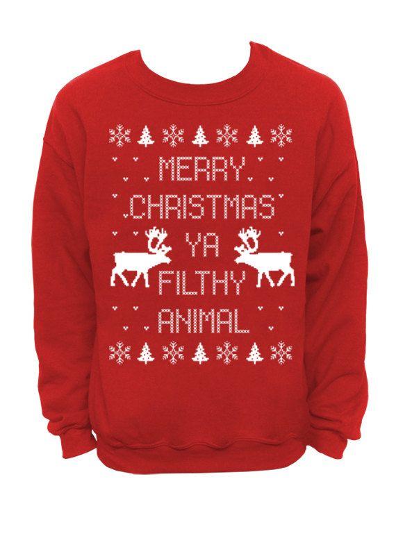 Enfants Joyeux Noël Ya Filthy Animal Noël Pull