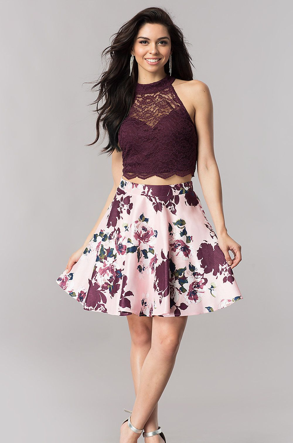 Short Two Piece Homecoming Dress With Print Skirt Two Piece Homecoming Dress Homecoming Dresses Short Black Prom Dress Short [ 1511 x 1000 Pixel ]