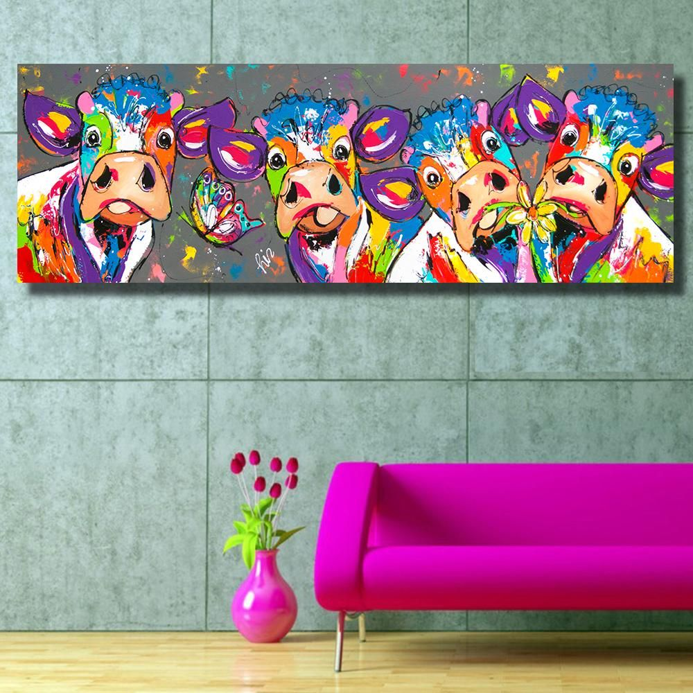 Funny Cows Animals Graffiti Oil Painting Decorateforless Walldecor Homedecor Cow Canvas Cow Painting Canvas Print Wall