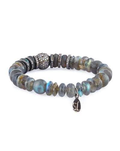 Sheryl Lowe Labradorite Mixed-Bead Bracelet w/ Diamonds wl3j31
