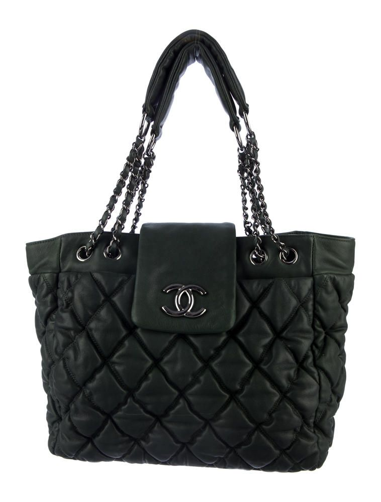 97fd87c38c3e Limited edition forest green bubble quilted leather Chanel tote with  silver-tone hardware, interlocking CC logo at front, dual chain and leather  top handles ...