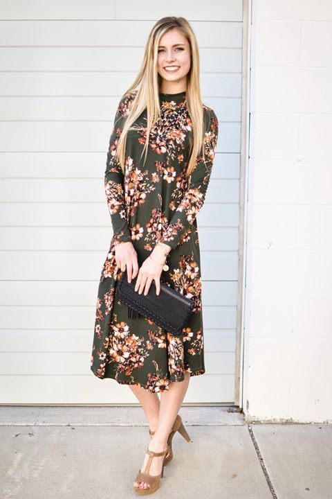 fe3f69ac4 Bethany Floral Trapeze Dress In Olive Size  Large http   ift.tt