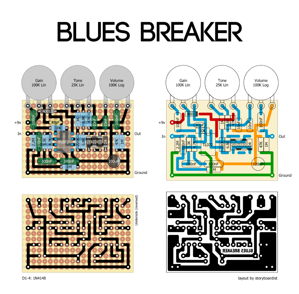 Perf And Pcb Effects Layouts  Marshall Blues Breaker Mk I