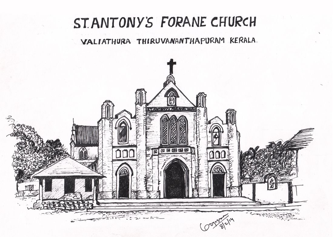 Black pen sketch valiyathura st antonys forane church in trivandrum kerala