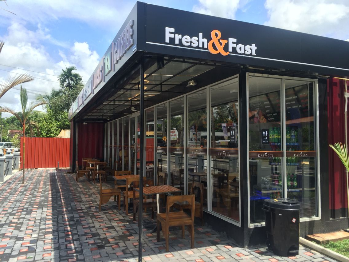 The Modern Hybrid Shipping Container Restaurant Designed And Built By Hybrid Homes In Sri Container Restaurant Restaurant Design Shipping Container Restaurant