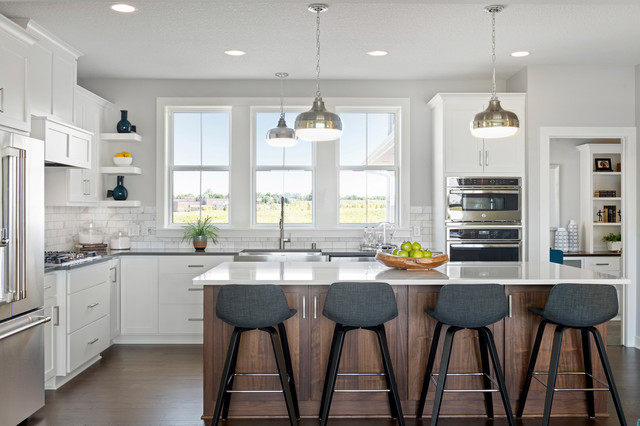 4 Kitchens With White and a Wood Island in 2020