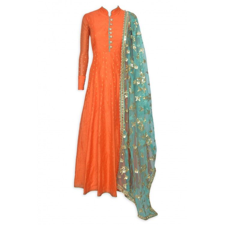 6c827bb2a3510 Attractive orange stitched benarasi buti frock suit complemented with heavy  sippi work dupatta